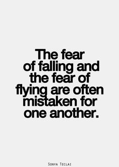 The fear of falling and the fear of flying are often mistaken for one another. Quotable Quotes, Lyric Quotes, Words Quotes, Me Quotes, Sayings, Inspirational Quotes Pictures, Great Quotes, Quotes To Live By, Fear Of Flying