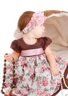 Vestido de festa marron e rosa