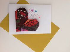 Greetings card with origami heart. I have made the heart with a recycled gift envelope by Desigual, but of course it can be made with any type of craft or wrapping paper, magazine or newspaper pages... It's always a good idea to recycle! - Birthday card, Mother's Day, anniversaries...