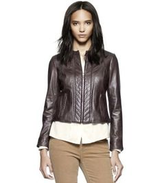 Slim Fit Navy Blue Women's Leather Jacket | Women's Jackets ...