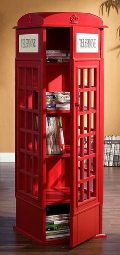 Fun and unique, this clever faux telephone booth creates an attractive room accent to store you media collection. Plexiglas windows line three sides of this media cabinet and give the window paned appearance an antique telephone booth. London Phone Booth, Telephone Booth, Bookshelves, Bookshelf Design, Armoire, Home Improvement, Furniture Design, Lockers, Sweet Home