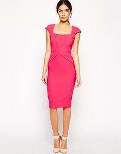 $102, Vesper Pencil Dress With Pleat Front Detail. Sold by Asos. Click for more info: https://lookastic.com/women/shop_items/146316/redirect