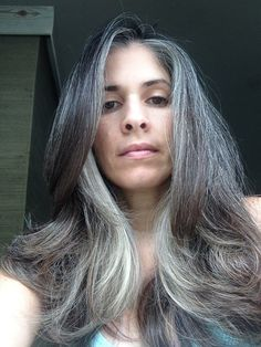 Salt and pepper gray hair. N… Salt and pepper gray hair. Aging and going gray gracefully. Grey Hair Don't Care, Long Gray Hair, Silver Grey Hair, White Hair, How To Grow Natural Hair, Natural Hair Styles, Long Hair Styles, Grey Hair Inspiration, Gray Hair Growing Out