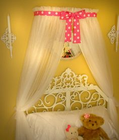 Minnie Mouse Polka dot DiSnEy Princess Bed canopy BoW CrOwN with sheer white curtains cornice teester tent So Zoey Boutique INCLUDED SaLe Disney Princess Bedding, Princess Canopy Bed, Princess Room, Custom Canopy, Personalized Pillows, Big Girl Rooms, Queen Size Bedding, Girls Bedroom, Playroom