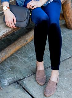 how to style velvet leggings in winter and spring | suede loafers for women | spring outfit idea