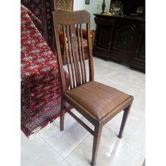 Δρύινη καρέκλα αντίκα, γερμανικής προελεύσεως, πλήρως αναπαλαιωμένη, ανατομικό κάθισμα, καφέ ριγέ τεχνόδερμα, χρονολογείται το 1900