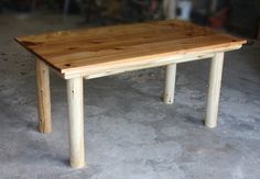 Kitchen table with red cedar top and 2 coats of liquid glass.