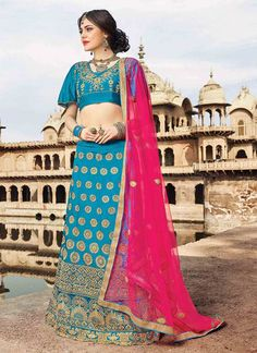 Buy Blue Art Silk A Line Lehenga online, SKU Code: GHSSIT23807. This Blue color Wedding a line lehenga for Women comes with Embroidered Art Silk. Shop Now!