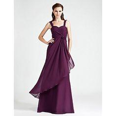 Lanting+Bride®+Floor-length+Chiffon+Bridesmaid+Dress+-+A-line+/+Princess+Sweetheart+/+Straps+Plus+Size+/+Petite+withFlower(s)+/+Ruching+/+–+USD+$+71.99