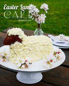 """Lamb Cake -- Pinner writes, """"I've made a yellow lamb cake similar to this one for 34 Easters now!  Never thought of chocolate and leaving the face open.  So darling!"""""""