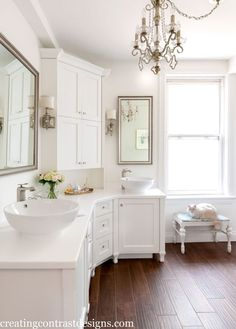 Toronto Client's bathroom painted Snowfall White by BM. Photo by Stephani Buchman. - gorgeous #bathroom by Claire Jefford. I love that curved vanity! So elegant!