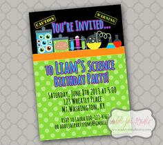 Science birthday party printable 5x7 4x6 or 4x5.5 by AddiJaiStudio, $6.50