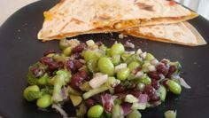 Southwest Chicken Quesadillas & Edamame Salad