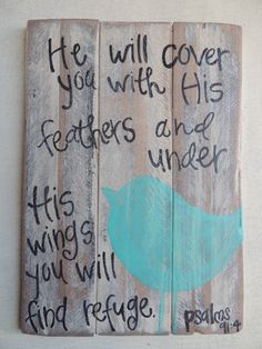 Handpainted Recycled Wood Sign w/Bird & Verse by DistressedAccents, $25.00