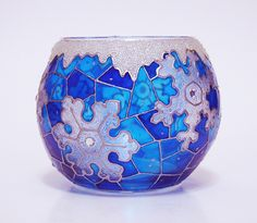 Christmas candle holder — Snowflakes | Hand painted stained glass.