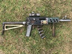 Created by Dave Parsons Mock assault rifle made from scrap metal unpainted