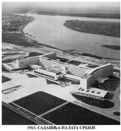 The Palace of Yugoslavia in 1961 which is nowadays the Palace of Serbia with Danube - Belgrade ~ Serbia