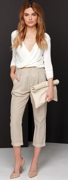 Brown and Cream Striped Pants