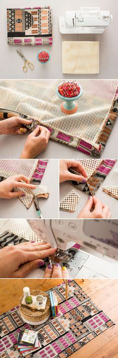 You can DIY this inexpensive rug in a few simple steps. 1. Trim rug mat and fabric to be the same size. 2. Fold over to create a 1-inch seam. Cut the corners on a diagonal to create a perfect fit. 3. (Step Back Simple)