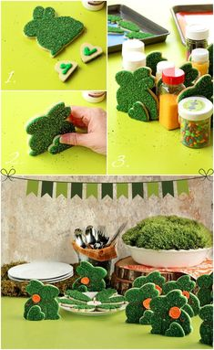 Make these Simple Moss Bunny Cookies that Actually Stand Up! via www.thebearfootbaker.com