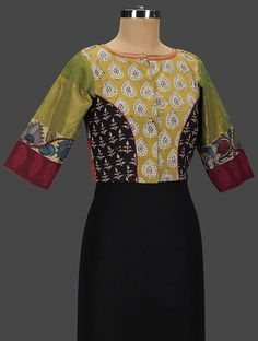 Buy Ochre Green Black Red Embroidered Cotton Blouse Women Blouses Elegant Companions Kutch with zari Online at Jaypore.com Sari Blouse Designs, Saree Blouse Patterns, Designer Blouse Patterns, Bridal Blouse Designs, Indian Embroidery Designs, Stylish Blouse Design, Cotton Blouses, Blouses For Women, Sarees
