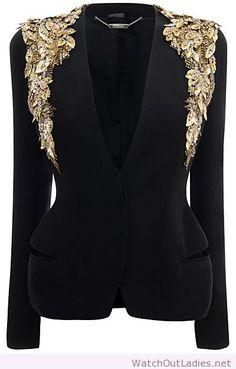 Alexander McQueen black and gold blazer