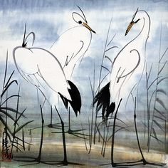 Thinking Three Times - Lin Fengmian - Post-Impressionism Sumi E Painting, Chinese Painting, Watercolor Paintings, Watercolours, Vogel Illustration, Botanical Illustration, Tinta China, Art Japonais, Guache