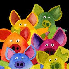 Fun Pigs Art Print