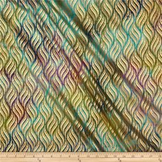 Indian Batik Montego Bay Leaf Metallic Purple/Teal from @fabricdotcom  From Textile Creations, this Indian batik is perfect for quilting, apparel and home decor accents. Colors include shades of green, shades of blue, and shades of purple with metallic gold accents.