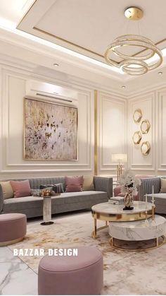 Home Design Living Room, Glam Living Room, Elegant Living Room, Interior Design Living Room, Modern Living, Fancy Living Rooms, Living Spaces, Luxury Interior Design, Bathroom Interior Design