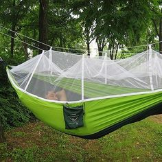 Single Person Portable Parachute Fabric Mosquito Net Hammock Have you ever slept in a bed in outdoors? Facing to the sky, staring at the cloud, listening to the bird twittering around your ears, the s