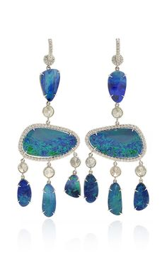 Nina Runsdorf - One of a Kind 18K White Gold Blue Opal And Diamond Earrings