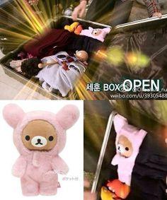 Inside Sehun's bag is a pink Rilakkuma plushie named Pinkupinku. Sehun can't sleep without it beside him aww~