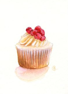 Cupcake 27 - Original Watercolor Painting 7x5 inches. $22.00, via Etsy.