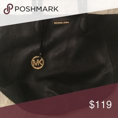 Reversible leather Michael Kors tote Like new condition! Unique with gold color on the inside! Large size. Michael Kors Bags Totes