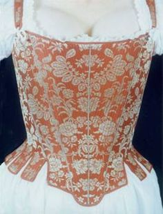 Stays was the 18th Century name for corsets and shaped the body in a rigid cone shape. They were not thought of as just underwear but as an under bodice and could be a symbol of the owners status.