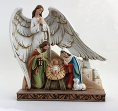 Beautiful Nativity, Joseph, Mary and Baby with Angel 8-inch Figurine Perfect for the Christmas Season (TC616)