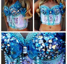 Beautiful blue themed rave corset