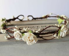 Ivory Rose and Pearl Pip Berry Floral Crown, Bridal Headdress, Flower Girl Bridesmaid Garland, Boho Wedding, Ivory Flower Crown by Flashfloozy on Etsy https://www.etsy.com/listing/210264051/ivory-rose-and-pearl-pip-berry-floral