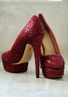 Red wedding day shoe