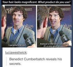 Benedict Cumberbatch reveals his hair secrets :3