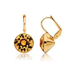 Bella Drop Earrings with Light Topaz Swarovski® Crystals Gold Plated