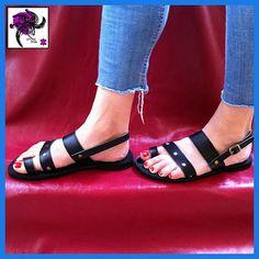 Piel de vaca cuero sandalias griegas.