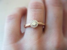 Diamond Engagement Ring Diamond Halo 14K Rose Gold Pink Gold Hand Engraved. $1,480.00, via Etsy.