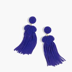 Tassels are still having a moment...and this is our beaded take. Length: 3 3/8. Miyuki seed beads, zinc casting, leather, cubic zirconia. Import.