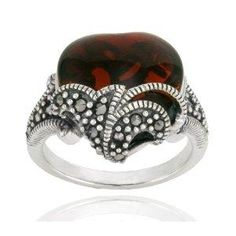 Sterling Silver Marcasite and Garnet Colored Glass Heart Ring
