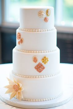 Pretty modern inspired wedding cake {MiraBella Confections}