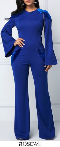 Royal Blue Keyhole Back Zipper Front Jumpsuit. Urban Style Outfits, Cool Outfits, Holiday Fashion, Autumn Fashion, Girl Fashion, Fashion Outfits, Womens Fashion, Cruise Outfits, Blue Jumpsuits