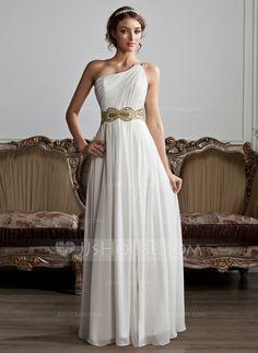 Vestidos princesa/ Formato A Um ombro Chá comprimento De chiffon Vestido de baile com Pregueado Bordado Lantejoulas Frente aberta (018020706)