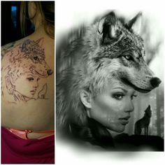 Meaningful tattoo for my oldest daughter #BlackInk #GirlsWithTattooss #InkIsLife #WolfTattoo #Strong #Leader #Independant
